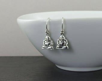 Yoga Jewelry - buddha earrings, 925 sterling silver earrings for women