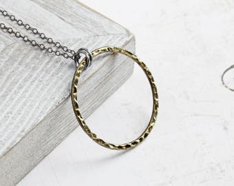 Large Antiqued Gold Plated Circle Loop Pendant Necklace on Gunmetal Black Chain