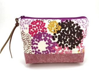 Small Cosmetic Bag - Small Zipper Bag - Patchwork Pouch - Purple Dots Zipper Pouch - Birthday gift ideas - Padded Pouch