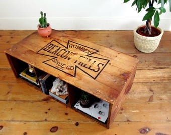 wood coffee table,vintage crate,industrial shipping crate,storage trunk,bookshelf,rustic decor,advertising,farmhouse antique,BEACON FALLS MA