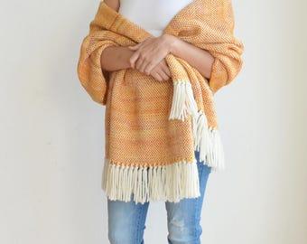 Pashmina poncho shawl, Hand woven blanket wrap, Sunset orange woven shawl, Uruguayan merino wool, Labor day SALE