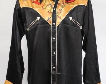 Vintage Western Saddle Champ Blk/Gold Shirt Sz M Rockabilly Western Ranchwear