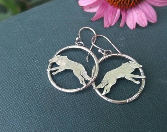 Running Wolves Sterling Silver Circular Earrings. Textured Detailed Nature Inspired Earrings. Wolves/Wolf Run Wild and Free. Ready to Ship