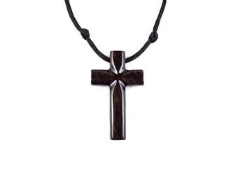 Wooden Cross Pendant, Mens Cross Necklace, Wooden Cross Necklace, Wood Cross Necklace, Hand Carved Wood Cross Pendant, Christian Jewelry