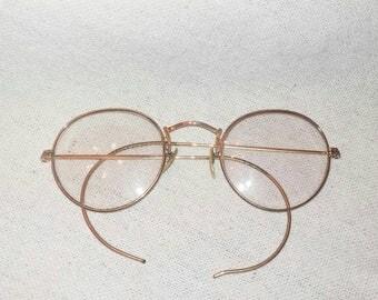 Vintage Gold Filled Eyeglasses Wire Rim Eye Frames Eye Wear Engraved Boho John Lennon Unique Art Deco Lines Beautiful