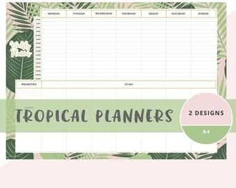 Weekly planner pad, weekly schedule planner, tropical plan, weekly planner notebook, week at a glance planner, weekly planner notepad, 7 day
