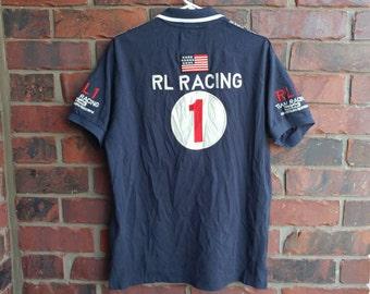1990s Ralph Lauren Racing Polo Vintage Ralph Lauren RL Racing USA Racing Team Polo Shirt