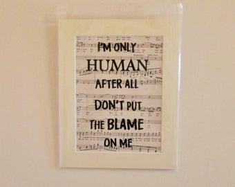 Lyrics Print 'Human' | Rag'n'Bone Man Song Lyrics | Sheet Music Print