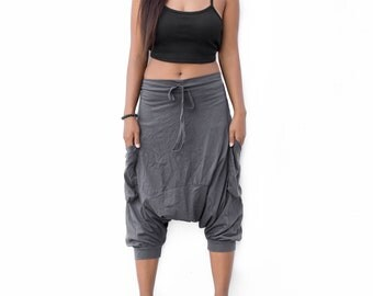 Harem Pants Short Drop Crotch women men, Ninja Pants, Boho Pants, Yoga Pants, Casual Pants, Gypsy Pants, Baggy Pants
