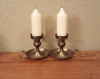 Vintage brass chamberstick candle holder pair.  Retro candlestick holders