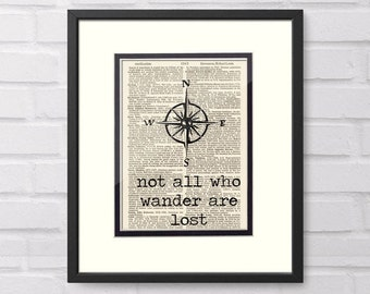 Not All Who Wander Are Lost, Compass over Vintage Book Page - Wanderlust, Retirement Gift, Travel Gift, Graduation Gift, JRR Tolkien, LOTR