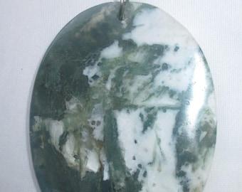 Large Moss Agate Pendant w/Bail - Unisex