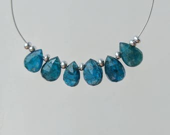 Neon Blue Apatite Faceted Pear Beads, 8mm, Neon Blue Gemstones, Cobalt Blue Teardrop Beads, Blue Destash Faceted Pear Apatite Gemstones
