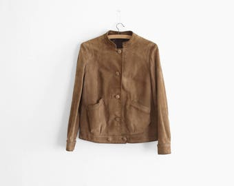 1960/1970s Tan Suede Jacket - Made in France - Womens Size S