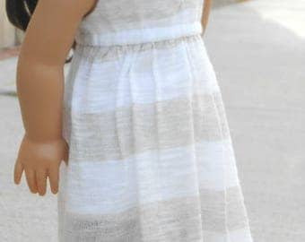 Beige/White Striped Salina Dress for American Girl Dolls