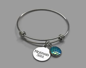 Mermaid Charm Bracelet, Mermaid Charm Bracelet, Beach Charm Bracelet, Beach Bracelet, Mermaid Soul, Beach Bangle, Stainless Steel