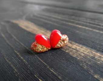 Be my valentine earrings love jewelry red heart earrings gold earrings stud christmas earrings bridesmaid gift set girlfriend christmas gift