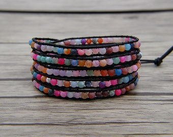 5 wrap bracelet rainbow bead bracelet mixed colors bead wrap bracelet bracelet boho bracelet beaded bracelet leather Jewelry SL-0559