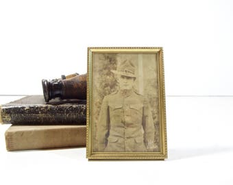Vintage WWI US Army Soldier Photo / Framed Military Portrait Postcard Photograph