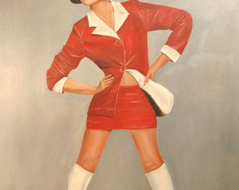 Vintage Painting Female Sexy Gogo Boots Mid Century Portrait Cool Mod