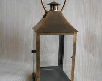 ON SALE Vintage Lantern,  Rustic Lighting,  Antique Brass Lantern, Candle Holder, Home Decor