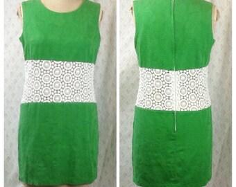 Fabulous vintage 1960's style, 90's bright green cotton brocade go go/mod/mini dress