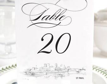 St Paul Skyline Table Numbers (1-10)
