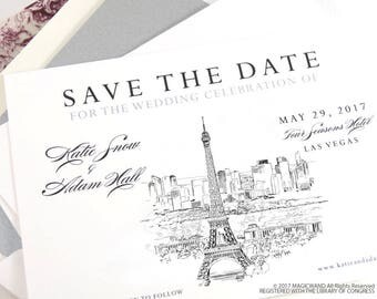 Paris Skyline Save the Date Cards, Save the Dates, STD, France Skyline, Eiffel Tower, Wedding, Hand Drawn (set of 25 cards and envelopes)