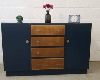 Fabulous mid century  sideboard painted in Farrow and Ball Hague Blue