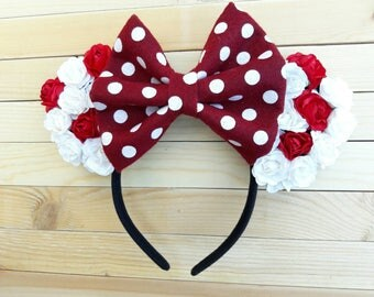 Red & White Floral Minnie Mouse Ears with Polka Dot Bow, Red and White Floral Ears, Floral Minnie Ears, Minnie Ears