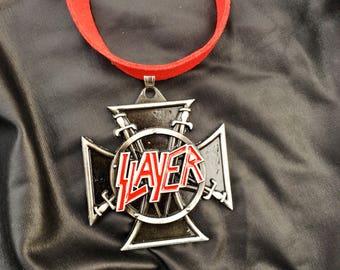 Slayer cross daggers metal gunmetal rock punk rock red vegan leather suede choker necklace
