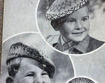Vintage knitting pattern 1940's Bestway 1681 children's fair isle berets age 2-3 3 ply