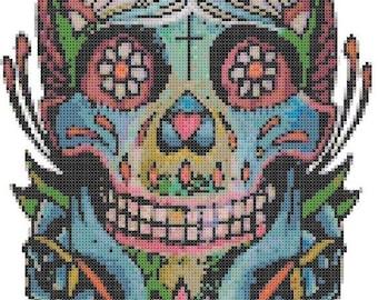 On SALE Sugar Skull - pop art - 119 x 183 stitches - Cross Stitch Pattern Pdf - INSTANT Download - B637