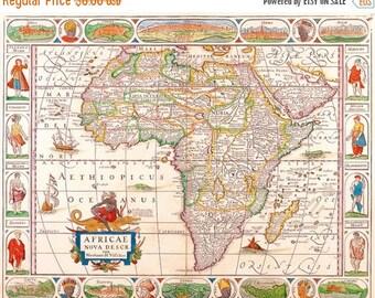 Antique map Cross Stitch Pattern Africa cross stitch ponto cruz embroidery - 496 x 391 stitches - Instant Download - B276