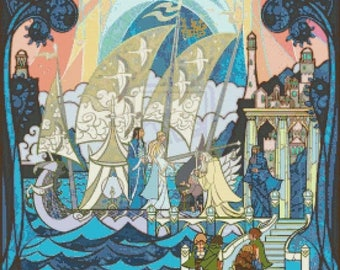 Lord of the Rings Cross Stitch Pattern stained glass pattern cross stitch - 276 x 386 stitches - Instant Download - B1013