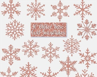GLITTER ROSE GOLD Snowflakes Digital ClipArt: Sparkle, frozen, winter, Christmas Printable Glitter Gold snowflakes clip art, Transparent Png