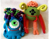 PATTERN - SET of 2 - Grace and Peter Horrorson cute amigurumi monster - crochet spooky plushie toy, written PDF by OrlicaCraft