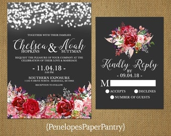 Elegant Rustic Christmas Wedding Invitation,Charcoal,Burgundy,Red,Blush,Roses,Fairy Lights,Romantic,Custom,Printed Invitation,Wedding Set