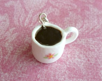 Coffee Cup Charm Black Coffee Miniature Food Jewelry Polymer Clay Coffee