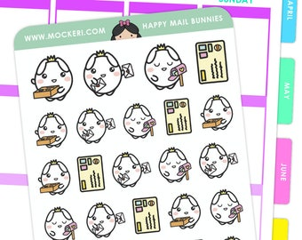 Happy Mail Bunnies / Planner Stickers