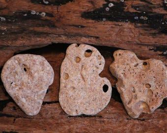 3-Holey Beach Stones-Beach Rocks w/Hole(s)-Holey Rocks-Beach Stone Pendant-Zen Stone-Mermaid-Surfer Style-Beach Girl-Stone Supply-Item #270