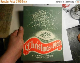 Summer Sale Vintage 1960 US Naval Station Midway Island Merry Christmas Menu