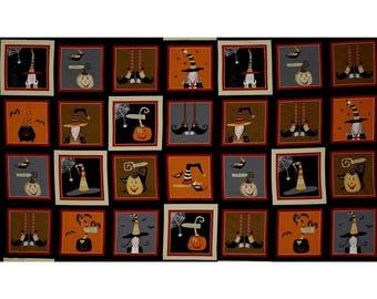 Witchy Black Orange Blocks fabric for Halloween by Studio E #3710-39 yardage