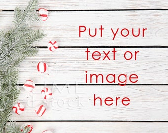 Styled Stock Photography / Christmas Background / Christmas Styled / Holiday / Stock Photo / Wood Background / Pine Branch / StockStyle-898