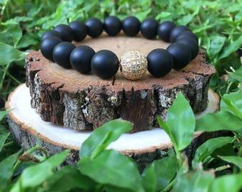 Matte Black Onyx Agate(10mm) Beaded Bracelet- 18k Gold Plate Pave Rhinestone Bracelet- Onyx Bracelet -Stacking Bracelet -Oliver Grey Jewelry