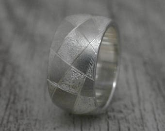 Band ring with engraving, silver ring