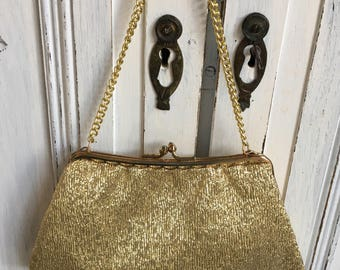 Vintage Evening Bag - Gold Metallic 1950s/60s