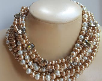 Gold and ivory pearl choker with rhinestone,statement necklace,bridal pearl necklace,boho necklace,topaz rhinestone choker,mother of bride