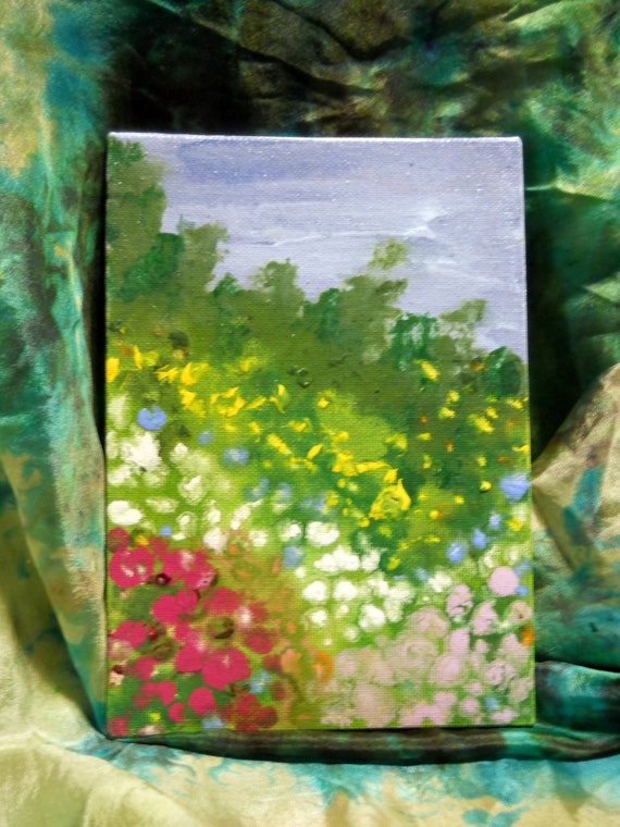"""Sweet Meadow, Acrylic Painting on 7 x 5"""" Canvas Panel, Folk Art, Stacey Torres Artist, field of wildflowers"""