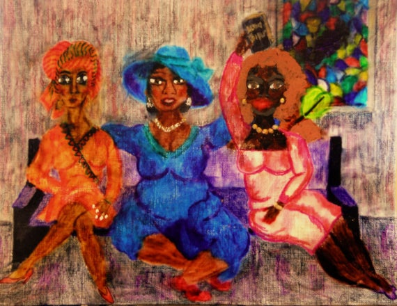 """Archival PRINT of Original Painting, """"TELL IT!"""" from 2014 Church Ladies Series, by Hoosier Artist Stacey Torres"""